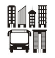 set urban transport icons vector image
