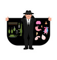 smuggler selling weapons and organs cloak-seller vector image vector image