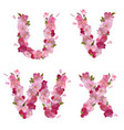 Spring alphabet with cherry flowers UVWX vector image