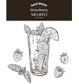strawberry mojito sketch vector image vector image