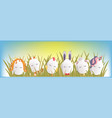 sweet easter egg characters in the grass with sky vector image vector image