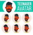 Teen boy avatar set indian hindu asian