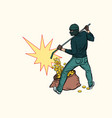 thief with bag money vector image