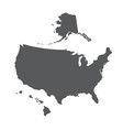 usa map outline with alaska and hawaii islands vector image vector image