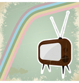 Vintage TV postcard vector image