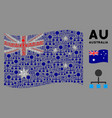 Waving australia flag collage hierarchy icons