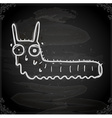 Worm Drawing on Chalk Board vector image vector image