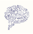 social media hand drawn elements gathered vector image