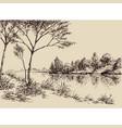 hand drawn artistic landscape river banks trees