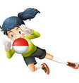 a girl using ball with chile flag vector image vector image