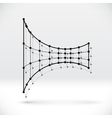 Abstract 3D wireframe shape with connected vector image