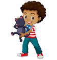 African American boy and his pet cat vector image vector image