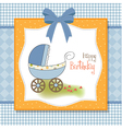 baby boy shower card with stroller vector image vector image
