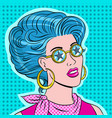 beauty young woman in star glasses pop art vector image vector image