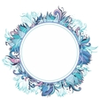 blue winter floral frame with lotus vector image vector image