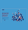business growth startup boost isometric landing vector image vector image