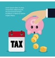 Calendar piggy and coins icon Tax and Financial vector image vector image