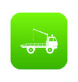 car towing truck icon digital green vector image
