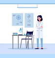 cartoon scientist woman in white lab coat standing vector image vector image