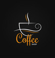 coffee cup logo on black design background vector image vector image