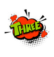 colored comic text numbers three vector image vector image
