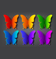 colored paper butterflies with shadow vector image