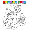 coloring book with kids mushrooming vector image