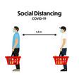concept social distancing in supermarket vector image vector image