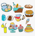 different kind of food and dessert doodle style vector image