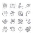 digital money bitcoin line icons minimal vector image vector image