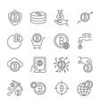 digital money bitcoin line icons minimal vector image vector image