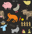doodle style animals on dark background seamless vector image