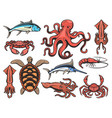 fishes underwater animals and seafood fishing vector image vector image