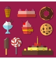 Flat set of sweets vector image vector image