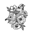 flowers and bird tattoo sketch vector image vector image