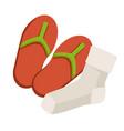 footwear and hosiery summer flip flops and socks vector image
