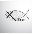 geometric christian fish cross and ixoye vector image