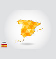 geometric polygonal style map of spain low poly vector image vector image