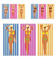 girl blonde in bikini on towel set vector image vector image