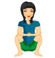 girl sitting on knee vector image vector image