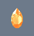 golden topaz gem shining logo drop shaped vector image