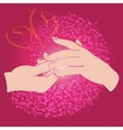 groom puts ring on bride hand vector image vector image