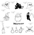 Halloween character warlock witch doodle vector image vector image