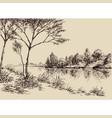hand drawn artistic landscape river banks trees vector image