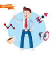 happy businessman with icons around him - rocket vector image