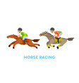 horse racing sport people riding animals speed vector image