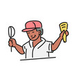 ice-cream seller or vendor character with corn vector image vector image