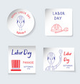 labor day theme set of stickers banners of vector image
