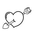 line cute heart with art arrow icon vector image vector image