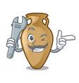 mechanic amphora mascot cartoon style vector image vector image